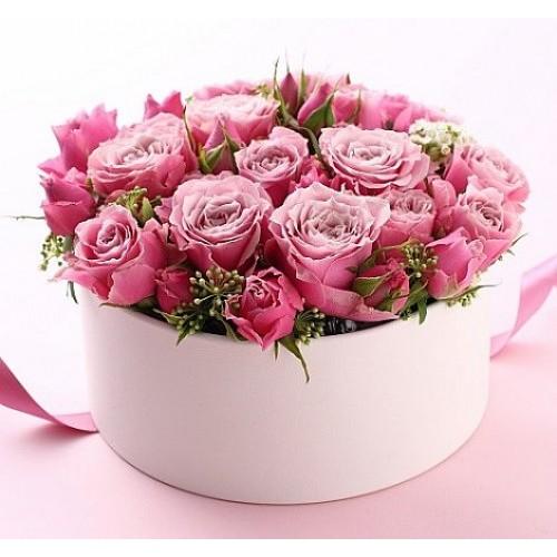 24 Rosas Color Rosado En Caja Palo De Rosa