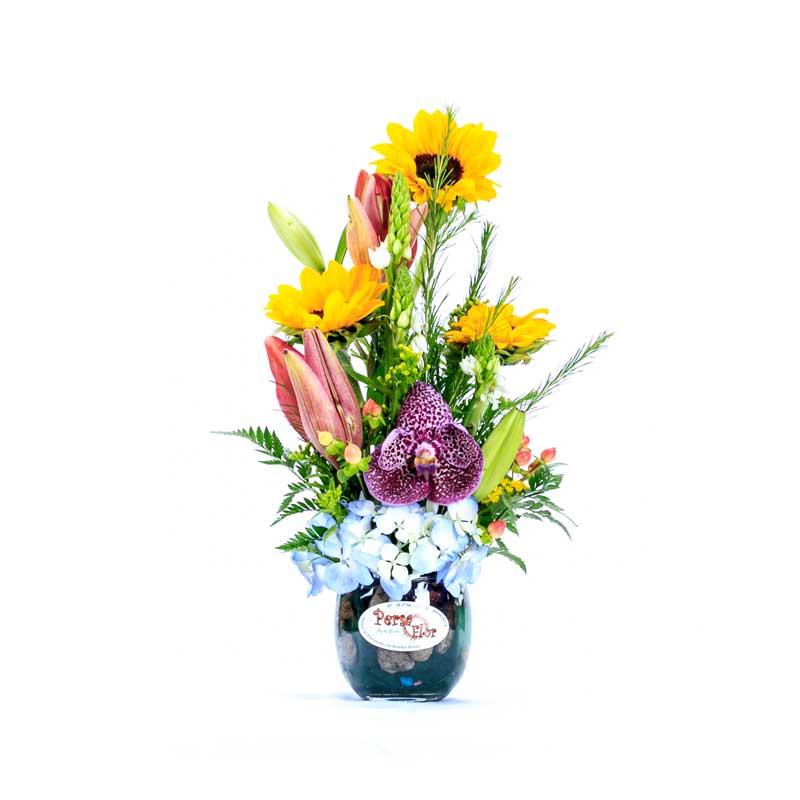 Arreglo Floral Girasoles Y Orquideas