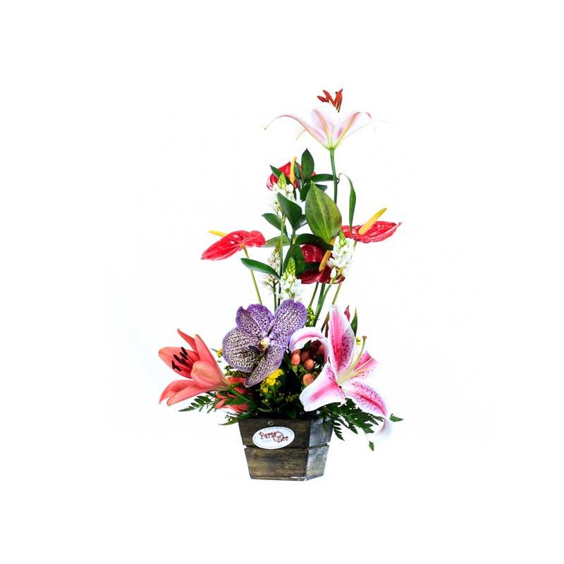 Arreglo Floral Lirios Y Orquídea
