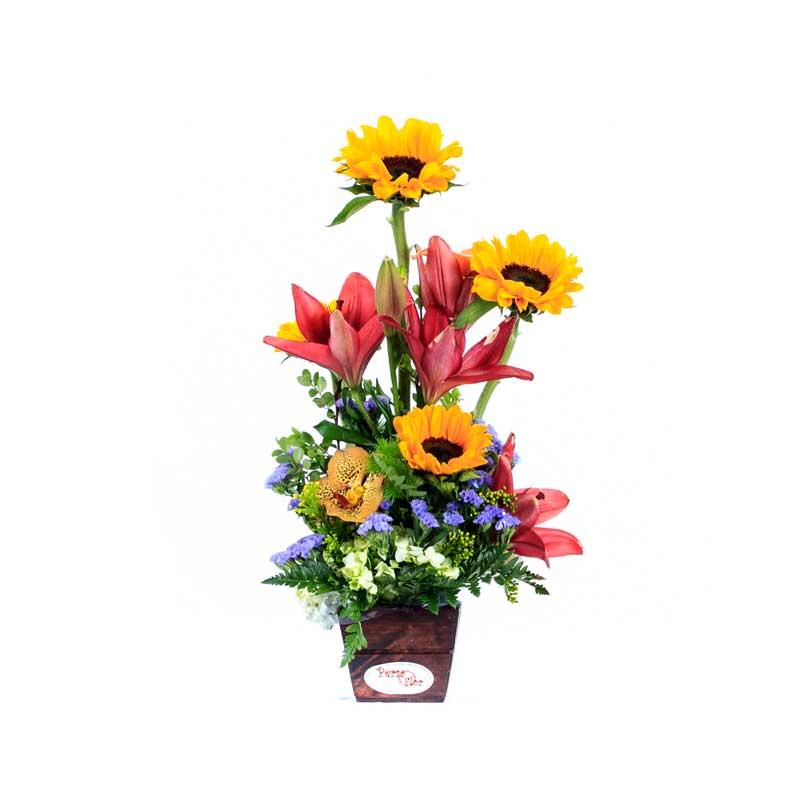 Arreglo De Flores Girasoles Y Lirios